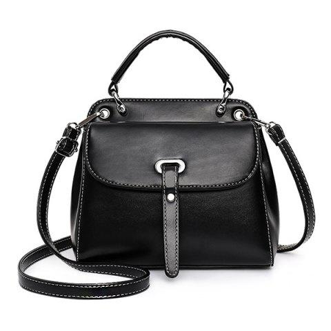 Fashionable High Quality PU Handbag for Women - BLACK
