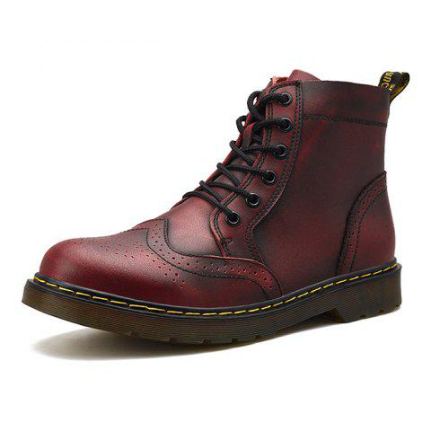 Men Comfortable Boots Stylish High-top Lace-up Durable - RED WINE EU 44