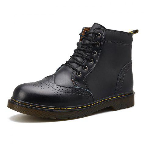 Men Comfortable Boots Stylish High-top Lace-up Durable - BLACK EU 43