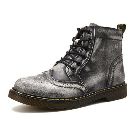 Men Comfortable Boots Stylish High-top Lace-up Durable - GRAY EU 46