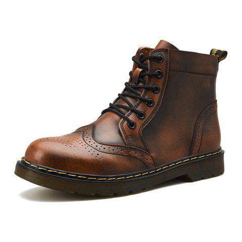 Men Comfortable Boots Stylish High-top Lace-up Durable - LIGHT BROWN EU 45