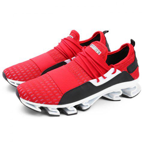 Men Breathable Sneakers Creative Lace-up Design - RED EU 40