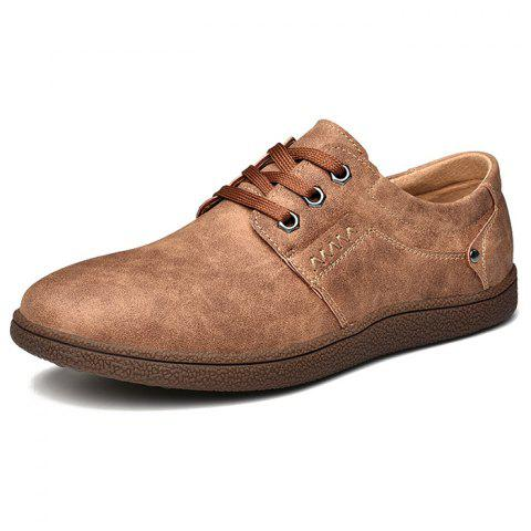 Men Comfortable Flat Shoes Lace-up Casual Leather Shoes - BROWN EU 43