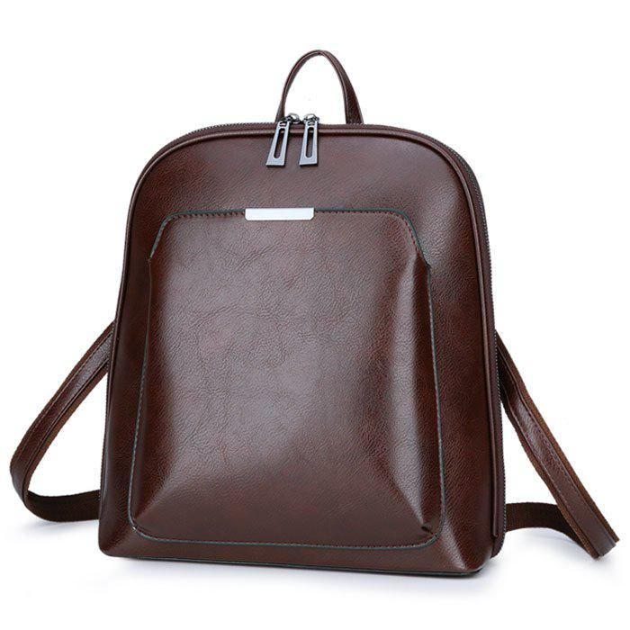 Fashion and Creative Pure Color Backpack - DEEP BROWN