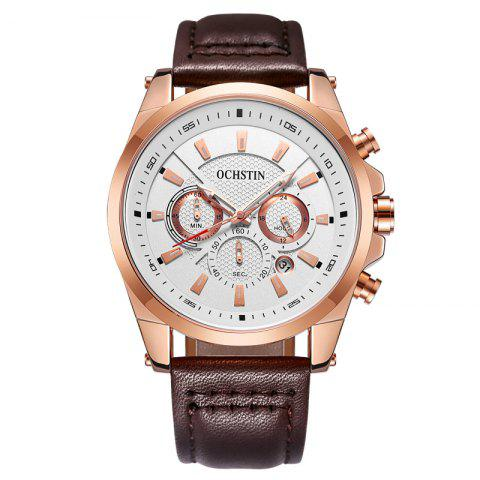 OCHSTIN 6065 Men Business Quartz Watch Loisirs Multifonctionnel Imperméable À L'eau - Blanc