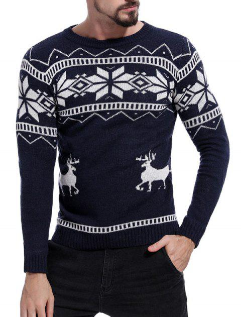 Men's Sweater Casual Deer Print Round Neck - CADETBLUE XL