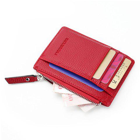 911 Multifunctional Zipper Thin Card Holder Coin Purse Wallet for Man and Woman - RED
