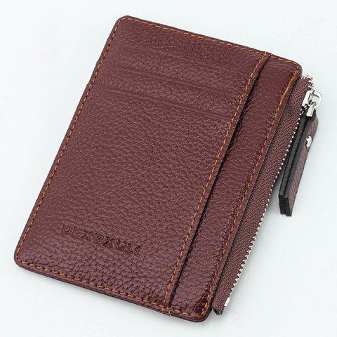 911 Multifunctional Zipper Thin Card Holder Coin Purse Wallet for Man and Woman - COFFEE