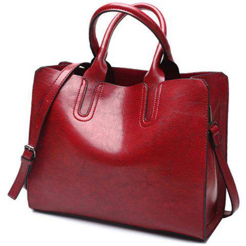 European American Style Oil Wax Material Sling Bag for Girl - RED WINE