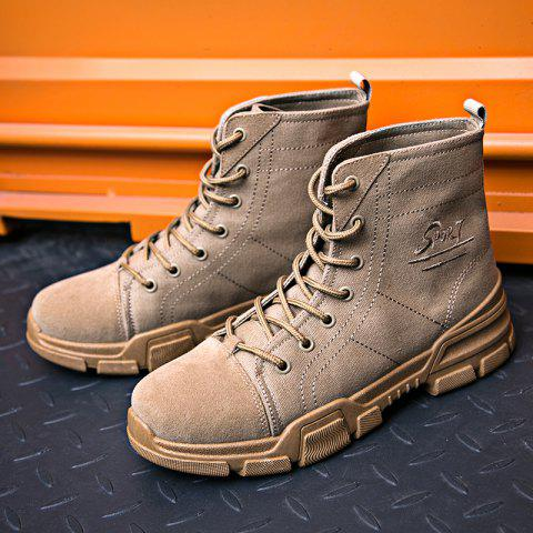 Men High-top Boots Comfortable Canvas Lace-up Durable - ARMY BROWN EU 39
