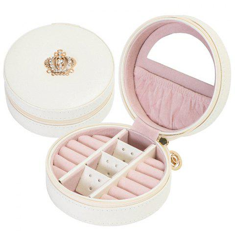 Portable Simple PU Jewelry Box for Woman - WHITE