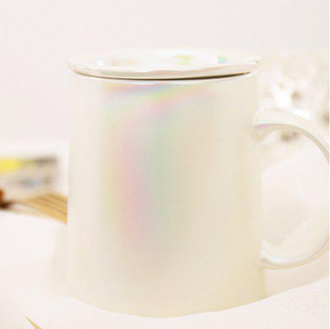 Pearl Matte Creative Ceramics Coffee Mug with Scoop - WHITE