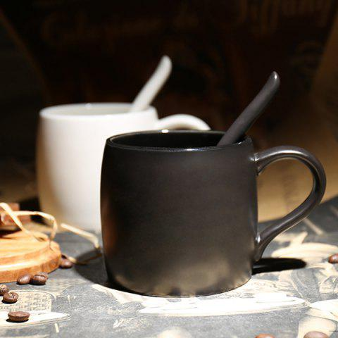Ceramics Mug with Scoop Creative Water Coffee Cup for Cafe and Home Use - BLACK