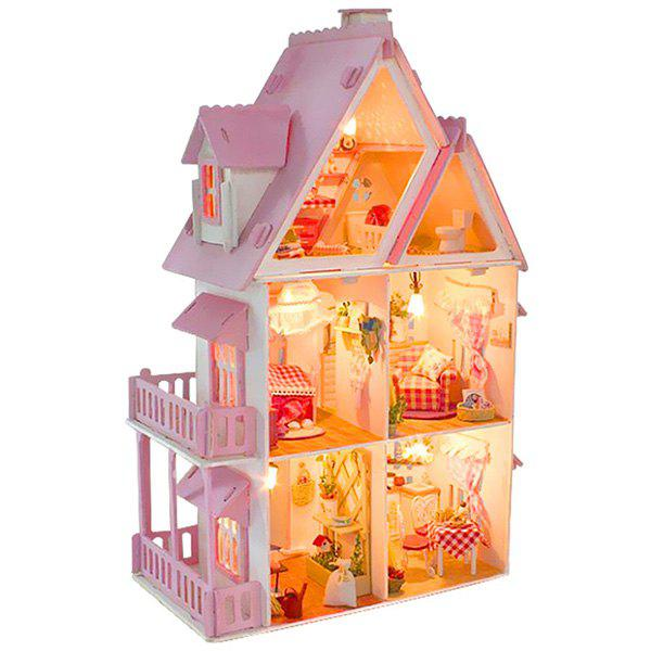 DIY Cabin Hand-assembled Simulation Dollhouse Furniture Model Toy Set - PIG PINK