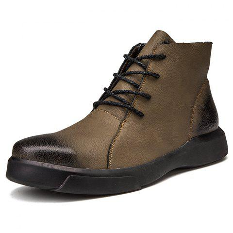 Men High-top Boots Lace-up Casual Leather Durable - KHAKI EU 43