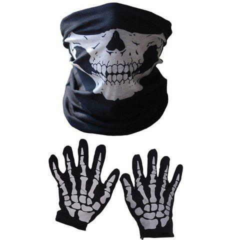 Halloween Creative Pattern Skull Face Mask Gloves Set - BLACK