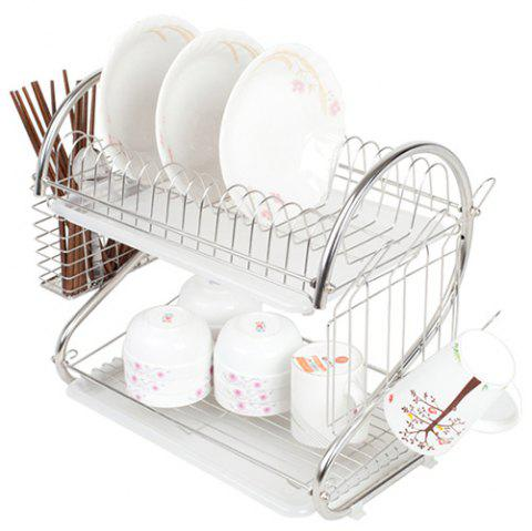 304 Stainless Steel Kitchen Double-layer Dish Rack - SILVER