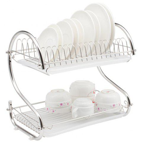 304 Stainless Steel Double-layer Dish Rack - SILVER