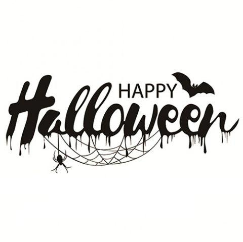 A02 Halloween Wall Stickers Living Room Bedroom Window Glass - BLACK 57*25CM