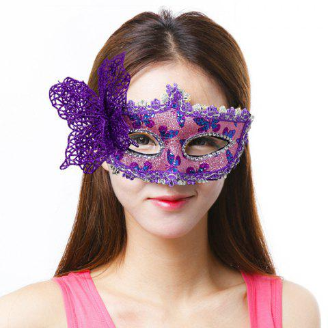 Halloween Masquerade Patch Painted Princess Party Christmas Bow Mask - PURPLE