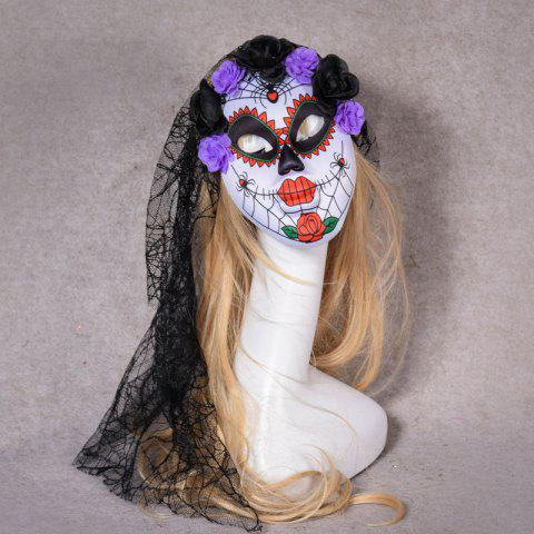 Halloween Masquerade Party Head Horror Clown Mask with Flower - PURPLE
