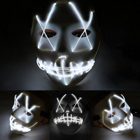 LED Grimace Scary Halloween Glowing Carnival Mask - WHITE