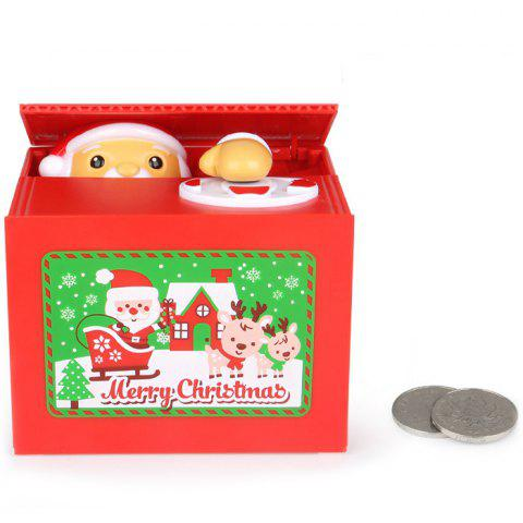 Christmas Electric Music Stealing Money Santa Piggy Bank Gift Party Toys - LAVA RED