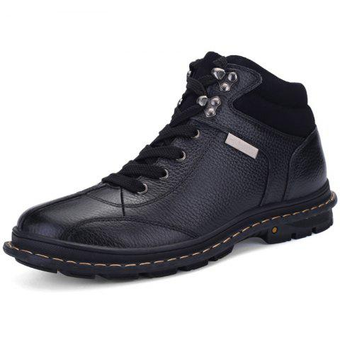 Men Comfortable Lace-up Casual Leather Cotton-padded Boots - BLACK EU 42