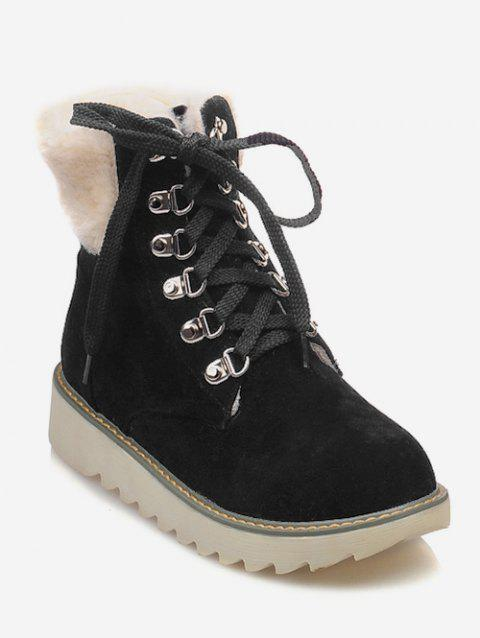 Plus Size Lace Up Faux Fur Boots - BLACK EU 37