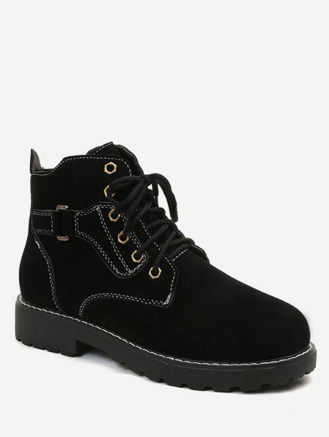 Round Toe Lace Up Suede Ankle Boots - BLACK EU 38