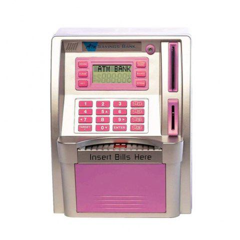 Personal ATM Cash Coin Piggy Bank Machine Toy - PINK