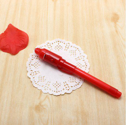 Big Head Luminous Light Pen Magic Drawing Invisible Ink Learning Education Toys for Child - CHESTNUT RED
