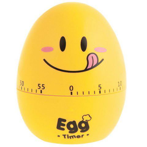 Creative Cartoon Timer Egg Expression Toy Mechanical Clockwork Alarm Clock - YELLOW