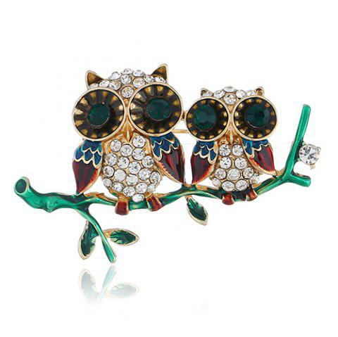 Personality Cute Owl Brooch Pin Accessories - multicolor GOLD + COFFEE