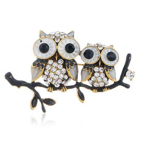 Personality Cute Owl Brooch Pin Accessories - multicolor GOLD + GREY