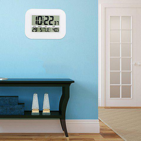 Multi-function Large Screen Digital Electronic Calendar Simple Living Room Mute Wall Clock - WHITE