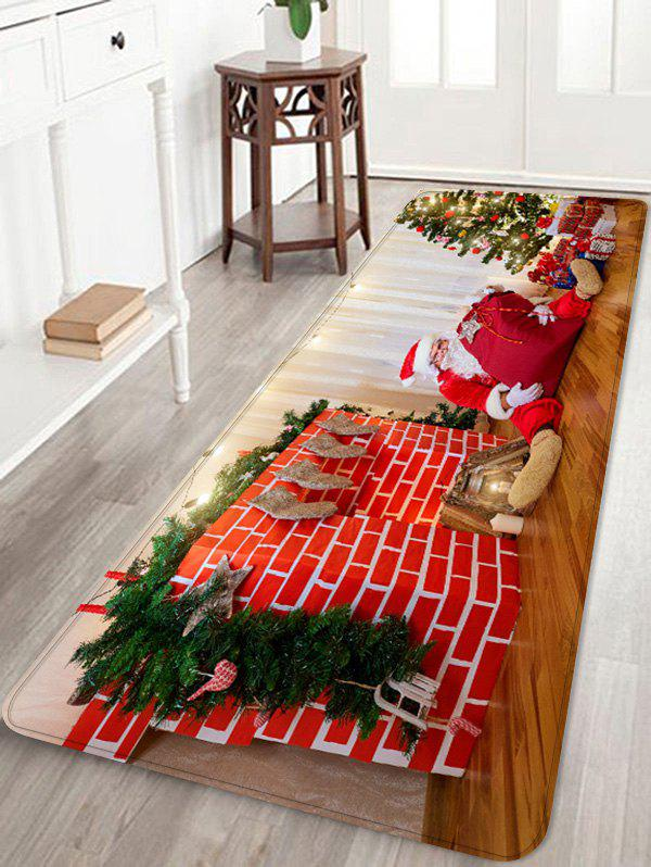 Father Christmas Gift Printed Non-slip Area Rug - RED W24 X L71 INCH