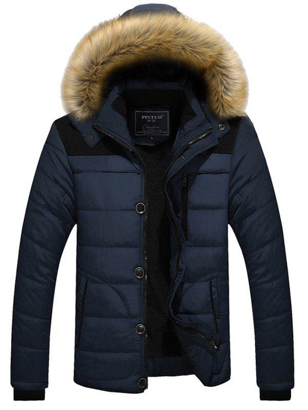 Winter Trend Men Cotton Jacket - LAPIS BLUE XL