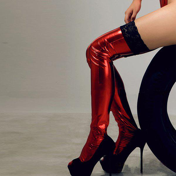 Europe And America Sexy Lace Patent Leather Stockings Stretch Sexy Thigh Stockings