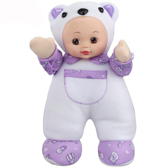 Interactive Sleep Appease Bear Baby Doll Plush Toy Christmas Gift - WHITE