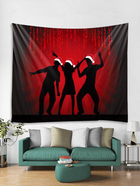 Celebrate Christmas Print Tapestry Art Decoration - BLACK W59 X L59 INCH