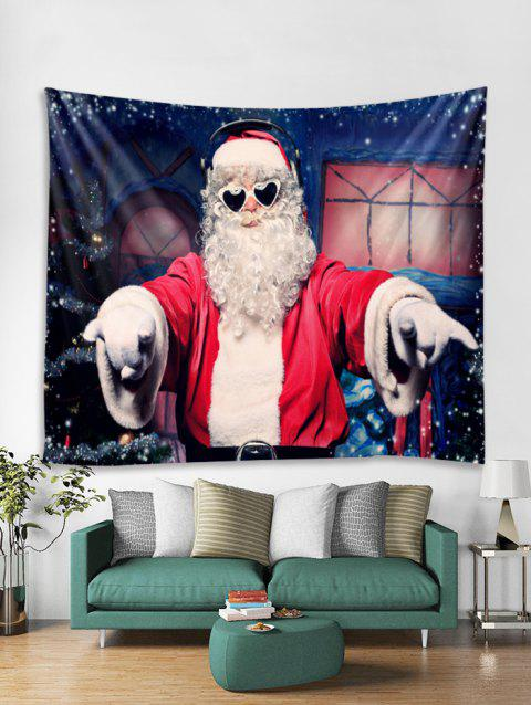 Music Father Christmas Print Tapestry Art Decoration - LAVA RED W59 X L59 INCH