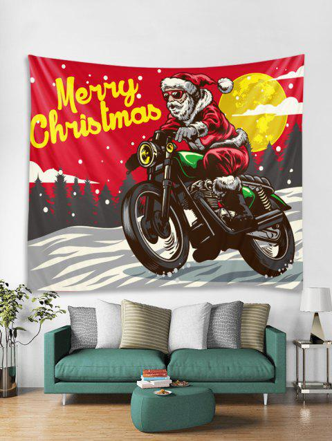 Father Christmas Motorbike Print Tapestry Art Decoration - RED W91 X L71 INCH