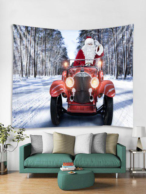 Father Christmas Car Printed Tapestry Art Decoration - RED W79 X L71 INCH