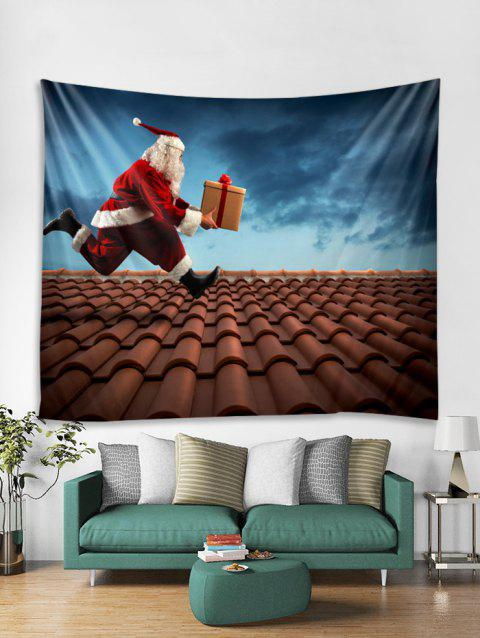Funny Father Christmas Gift Print Tapestry Art Decoration - DAY SKY BLUE W79 X L71 INCH