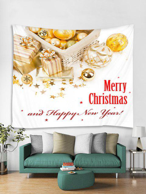Merry Christmas Happy New Year Print Tapestry Art Decoration - WHITE W91 X L71 INCH