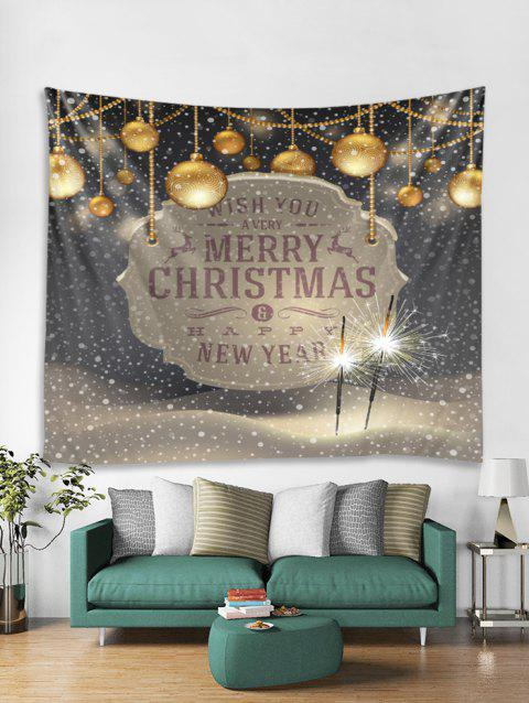 Merry Christmas Ball Print Tapestry Art Decoration - DARK GRAY W91 X L71 INCH