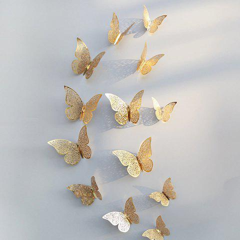 3D Butterfly Pattern Refrigerator / Wall Sticker for Family Party Wedding Decoration 12pcs - GOLD HOLLOW BUTTERFLY B GOLD