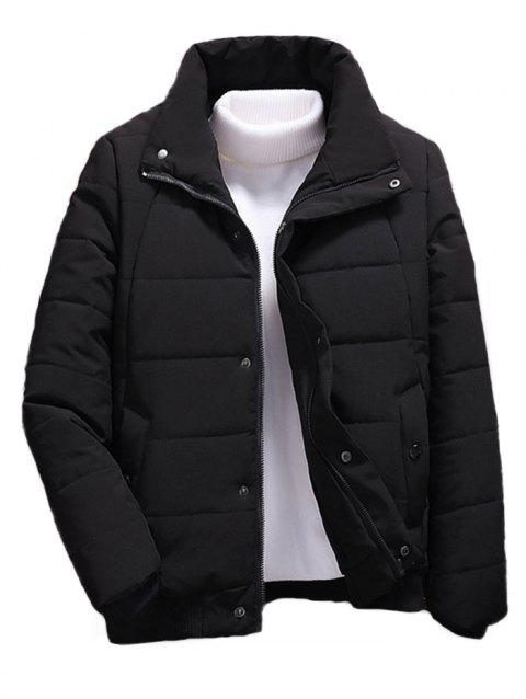 Men Stand Collar Cotton Jacket Down Jacket - BLACK M