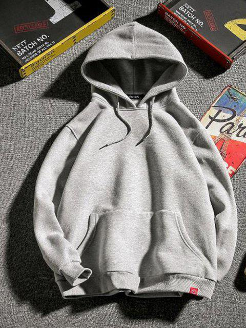 Men Solid Color Hoodie Comfortable Long Sleeve - LIGHT GRAY 2XL